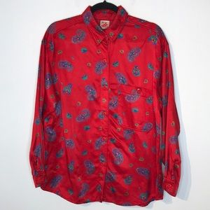 Vintage paisley satiny buttons down shirt
